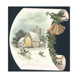 Snow Scene and Church, Christmas Card Giclee-vedos