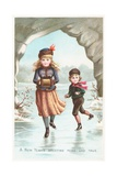 Boy and Girl Ice-Skating, New Year Card Giclee Print