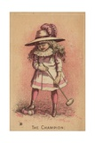 Girl Playing Croquet, the Champion Giclee Print