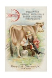 Old Man Milking Cow, with Child and Cat Giclee Print