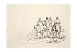 The Duke of Wellington and Staff at the Commencement of the Battle, Pub. J. Booth, 1816 Giclee Print by George Jones