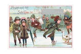 Ice-Skating, New Year Card Giclee Print