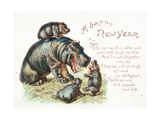 New Year's Card with a Family of Hippopotatmuses Playing Giclee Print