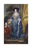 Queen Henrietta Maria with Sir Jeffrey Hudson, 1633 Giclee Print by Sir Anthony van Dyck