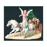 Angel on Horseback Delivering Presents, Christmas Card Giclee Print