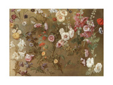 Composition of Flower Studies Including Carnations, Pincushion Flowers, Bouncing Bet, Mallow;… Giclee Print by Hyacinthe Rigaud