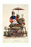 Bouquetiere Des Bouquets Pour Margot Margueritte, Print Made by Delpeck, from 'Cris De Paris', 1820 Giclée-Druck von Carle Vernet