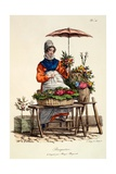 Bouquetiere Des Bouquets Pour Margot Margueritte, Print Made by Delpeck, from 'Cris De Paris', 1820 Giclee Print by Carle Vernet