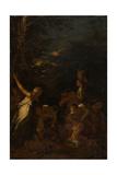 The Nurture of Jupiter, C.1659 Giclée-tryk af Salvator Rosa