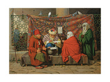 A Turkish Notary Drawing Up a Marriage Contract in Front of the Kilic Ali Pasha Mosque, Tophane,… Gicléetryck av Martinus Rorbye