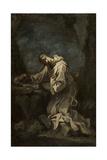 Monastic Saint in Meditation, 1720s Giclée-tryk af Alessandro Magnasco