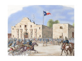 USA. Annexation of Texas. Texas State Flag Waving over the Alamo, San Antonio, after Being… Giclee Print