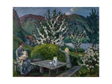 Mother and Child by the Garden Table Giclee Print by Nikolai Astrup