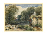 Landscape with Sheep and Ruins, 1851 Giclee Print by James Orrock