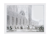 Arrival at Notre-Dame Cathedral, Paris of Emperor Napoleon I and Empress Josephine for their… Giclee Print by Jean-Baptiste Isabey