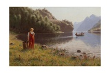 Woman in Fjord Landscape Giclee Print by Hans Andreas Dahl