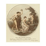 Two Nymphs Mock Cupid Who Is Tied to a Tree Lámina giclée por Angelica Kauffmann