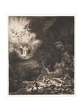 The Angel Appearing to the Shepherds, 1634 Giclee Print by  Rembrandt van Rijn