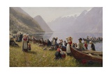 Going to Church in Hardanger Giclee Print by Hans Andreas Dahl
