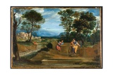 Christ and the Woman of Samaria, C.1620-30 Giclée-tryk af Domenichino