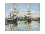 Ships Riding on the Seine at Rouen, 1872- 73 Giclee Print by Claude Monet