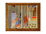St. Ambrose Refuses Roman Emperor Theodosius I the Great Admission to the Church in Milan, 1436… Giclee Print by  Master of the Osservanza