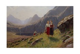 Three Girls by the Mountain Lake in Western Norway Giclee Print by Hans Andreas Dahl