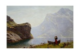 Woman and Child by the Fjord Bank Giclee Print by Hans Andreas Dahl