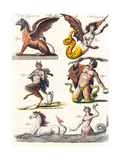 Plate Showing Various Mythological Hybrids, 1830 Giclee Print by German School