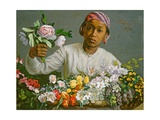 Young Woman with Peonies, 1870 Giclee Print by Jean Frederic Bazille