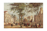 Spain. Catalonia. Barcelona. Las Ramblas and the Liceu Opera House (Left). 19th Century. Colored… Giclee Print