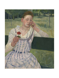 Woman with a Red Zinnia, 1891 Giclee Print by Mary Stevenson Cassatt