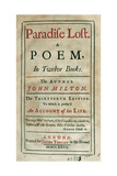 Paradise Lost by John Milton (1608-1674) Giclee Print