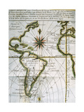 Map of the Atlantic Ocean. 18th Century Giclee Print