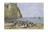 Washerwomen on the Beach of Etretat, 1894 Giclee Print by Eugène Boudin