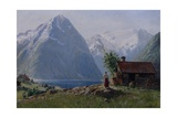 Girl in a Fjord Landscape Giclee Print by Hans Andreas Dahl