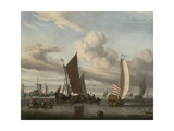 Shipping in a Calm Sea Off a Jetty Giclee Print by Jan Claes Rietschoof