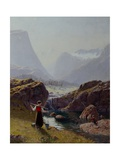 Girl with Buckets of Water and Boy Fishing Giclee Print by Hans Andreas Dahl