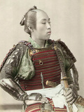 Portrait of a Samurai of Old Japan Armed with Full Body Armour, 1890 Photographic Print
