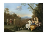 Nymphs Dancing and Making Music by a Pool on a Wooded Hilltop with the Apulian Shepherd Giclée-Druck von Daniel Vertangen