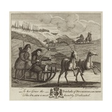 Four Eskimo Figures Driving Two Reindeer-Driven Sledges Giclee Print
