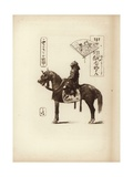 A Samurai Soldier Sitting on His Horse Lámina giclée