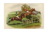 Racehorses Leaping a Hurdle Giclee Print by George Derville Rowlandson