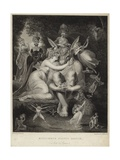 Titania Kissing Bottom in a Midsummer Night's Dream Gicléetryck av Henry Fuseli