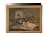 Courtship in a Cowshed Giclee Print by Julius Caesar Ibbetson