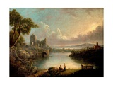 River Scene with Sea and Classical Ruins Giclee Print by Richard Wilson