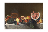 Still Life with Watermelons and Carafe of White Wine Giclee Print by Carlo Saraceni