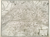 Map of Paris, from 'L'Atlas De Paris' by Jean De La Caille, 1714 Giclee Print