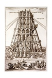 Erecting the Ancient Egyptian Obelisk in St. Peter's Square, Rome, Engraved by Alessandro Specchi Giclee Print by Carlo Fontana
