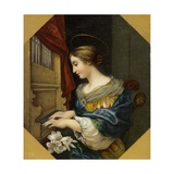 Saint Cecilia Playing the Organ Gicléedruk van Carlo Dolci